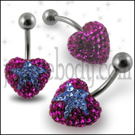 Pink Crystal stone With Blue Heart Banana Bar Navel Ring Body Jewelry