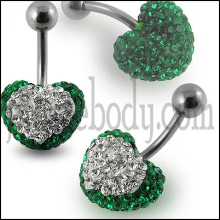 Green Glittring Crystal stone Heart Banana Bar Belly Ring