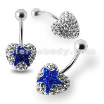 White Crystal stone With Blue Star With Banana Bar Belly Ring FDBLY388