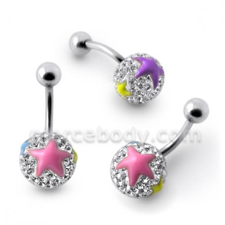White Crystal Stone Jeweled Enamel Print Star Navel Ring Body Jewelry