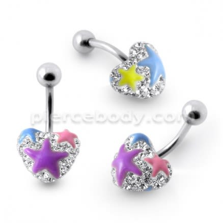 Mix Color Crystal stone With Purple Heart Banana Bar Navel Belly Ring