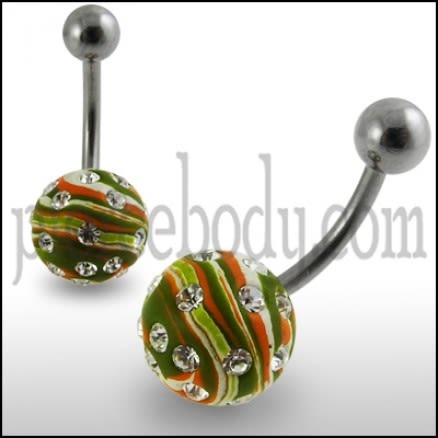 Multi Colored Hand Painted Crystal Ball Curved Belly Ring