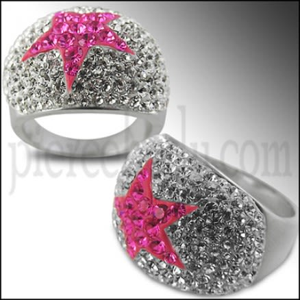 White Crystal With Pink Star Brass Finger Ring