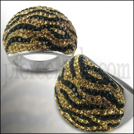 Crystal Tiger Lines Fashion Finger Ring Body Jewelry