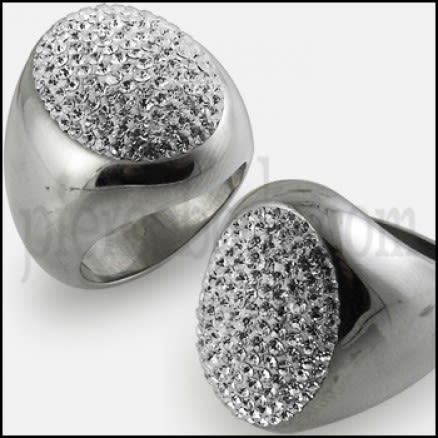 Glamorous Dome Style Cocktail Fashion  Ring with White, Gray Clear Crystal