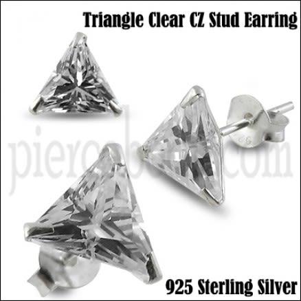 925 Sterling Silver Triangle CZ Earring