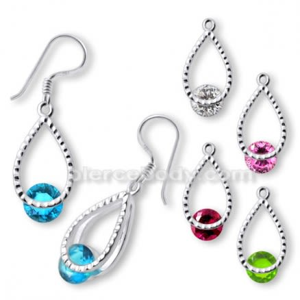 Fancy Jeweled Silver Single Stone Earring