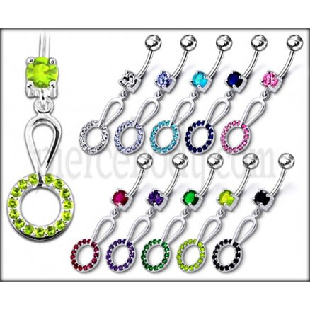 14 Gauge Jeweled Fancy Dangling SS Curved Navel Ring