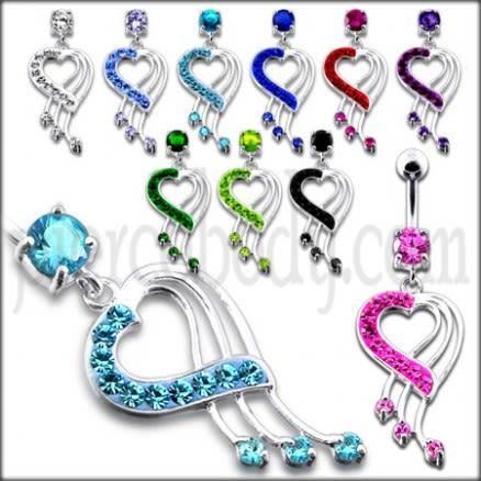 Fancy Jeweled Heart Dangling Navel Body Jewelry Ring