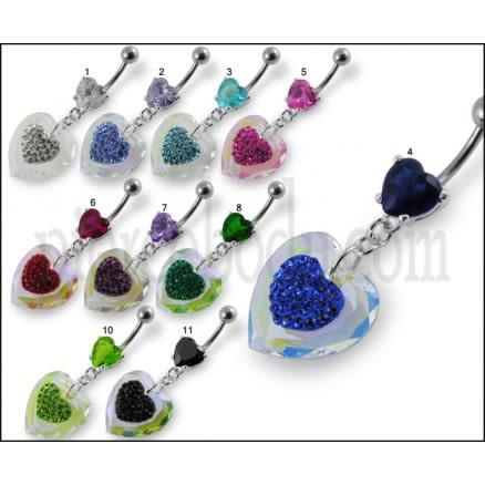 Fancy UV Heart Multi Stone Jeweled Dangling Navel Ring