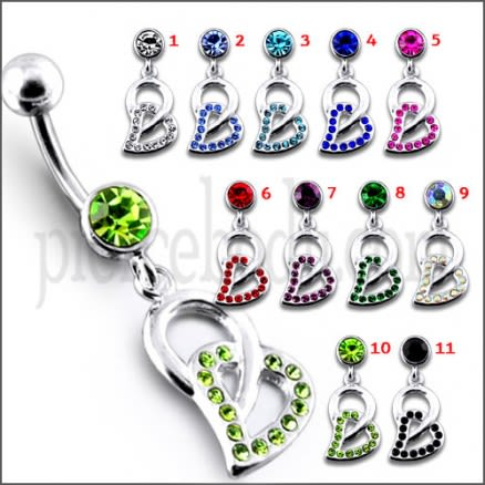 Fancy Green Jeweled Silver Dangling SS Bar Navel Ring