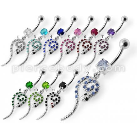 Snake Jeweled Dangling Belly Ring