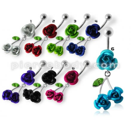 Jeweled Rose Dangling Belly Ring
