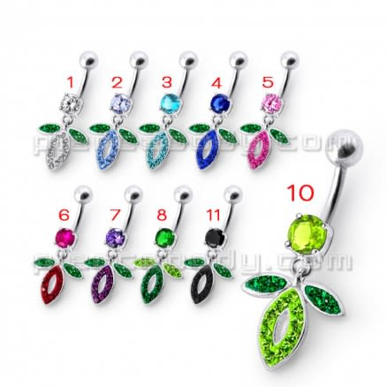 Fancy Jeweled Boy Design Dangling With Banana Bar  Belly Ring