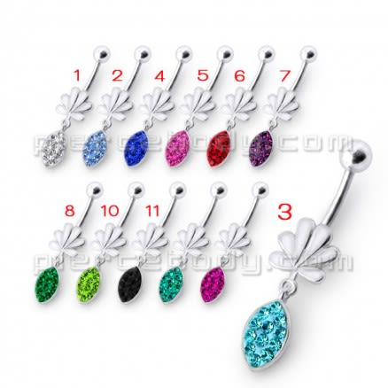 Fancy Jeweled Croen Shape Tear Drop  Dangling Belly Ring