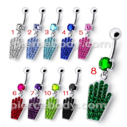 Jeweled Hand Dangling Belly Ring