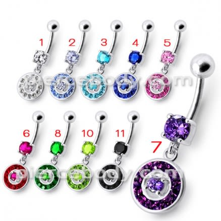 Fancy Round Multi Stone Studded Jeweled Dangling Belly Body Ring
