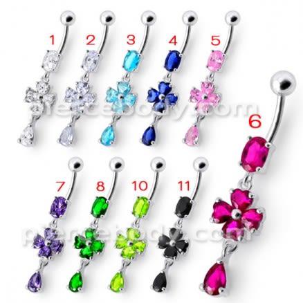 Silver Fancy Pink Stone Flower Dangling Bdy Jewelry SS Bar Belly Ring