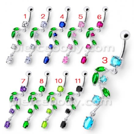 Fancy Multi Jeweled Fairy Dangling Body Jewelry Belly Ring