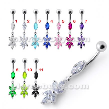 Fancy White Jeweled Dangling Navel Ring Body Jewelry