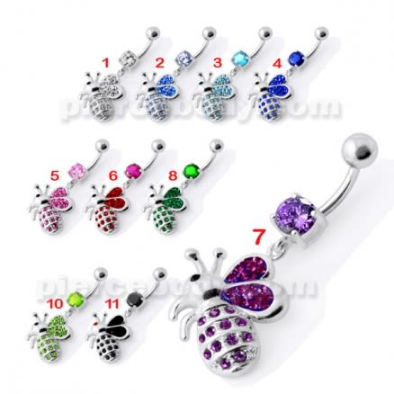 Fancy Jeweled Honey Bee Dangling Belly Ring