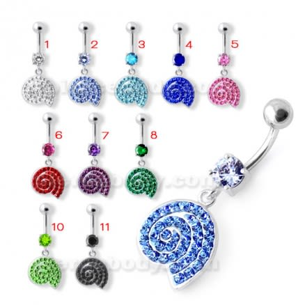 Fancy Jeweled Dangling Navel Belly Ring PBM2031
