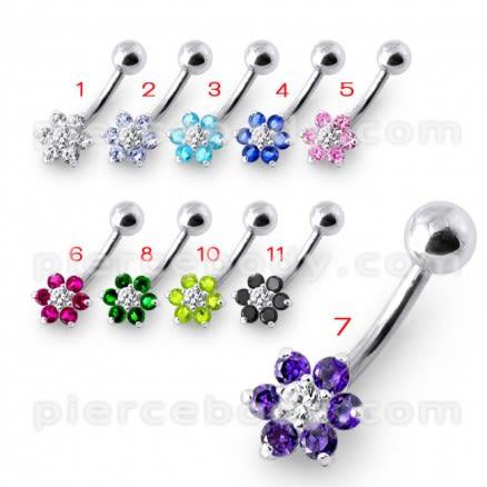 14 Gauge Fancy Jeweled Flower Silver Banana Belly Ring
