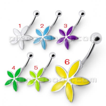 Rexine Flower Silver Belly Ring