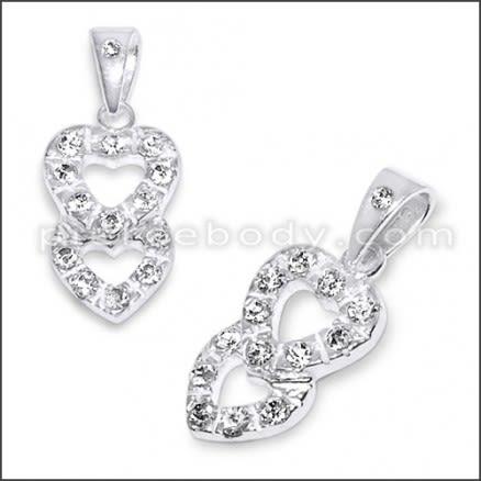 White Zirconia Double Heart 925 Sterling Silver Pendant