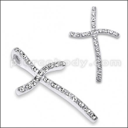 925 Sterling Silver White Zirconia Cross Pendant