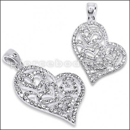 Sterling Silver Jeweled Heart Pendant With Cubic Zirconia stones