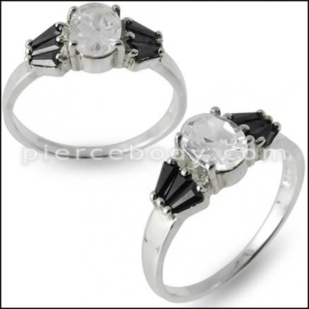 Unique Design Jeweled Fashionable Silver Ring