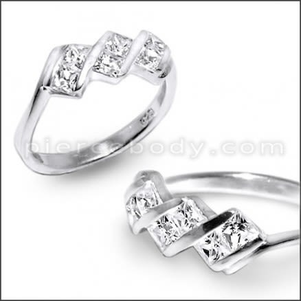Zirconia Jeweled Fashion Silver Ring