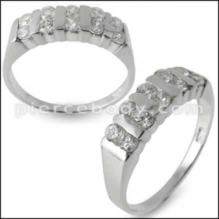 Women Fashion Statement Multi Jeweled Silver Ring