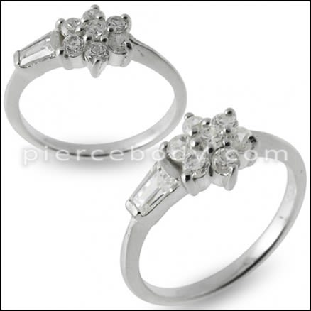Silver CZ Flower Jeweled Fashion Silver Ring Body Jewelry