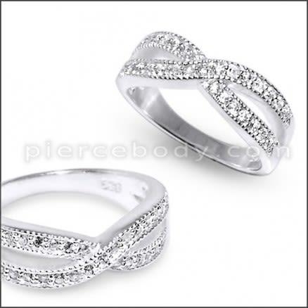 BF2U Multilayer Fashion Crystal Band Finger Ring Silver