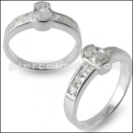 925 Sterling Silver with CZ Stone Fashionable Finger Ring