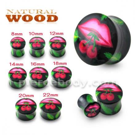 Lips with Cherry Wood Ear Plug