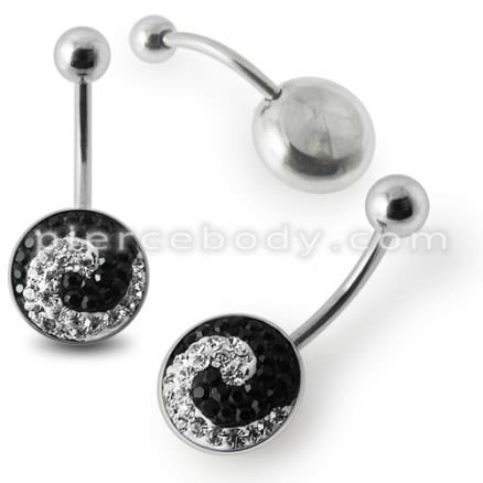 Black And White Crystal stone SS Bar Belly Ring with steel Base