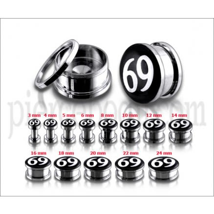 #69 Logo With SS Screw Fit Ear Tunnel