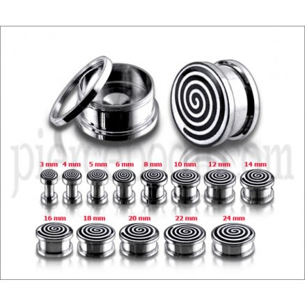 Spiral Logo With SS Screw Fit  Ear Tunnel Body Jewelry