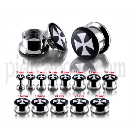SS Internal Screw Fit Black Irish Cross Logo Ear Tunnel