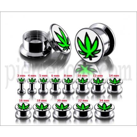 SS Internal Screw Fit With Marijuana Logo Ear Tunnel