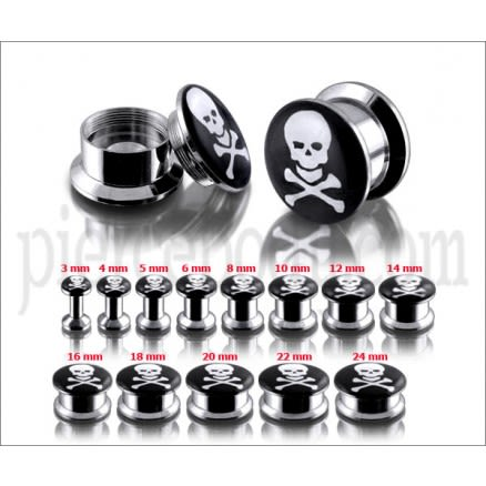 SS Internal Screw Fit Skull Logo Ear Tunnel