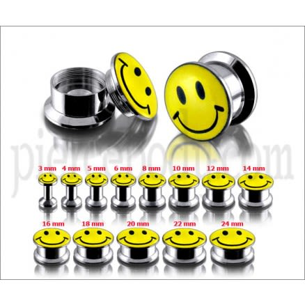 SS Internal Screw Fit With Smiley Logo Ear Tunnel