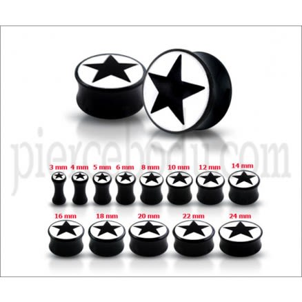 Double Flared Black Star Logo Ear Plug