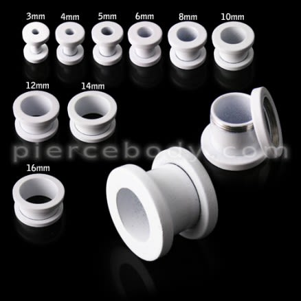 White Anodized Screw Fit Ear Flesh Tunnel