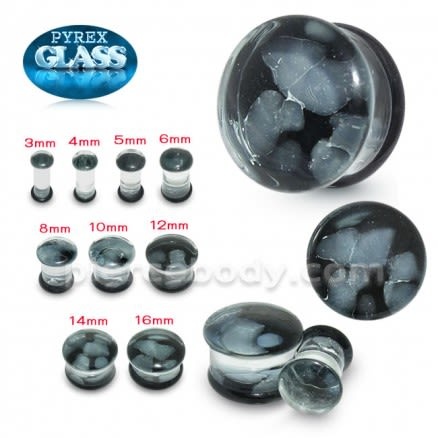 Grey Pebble Pyrex Glass Ear Plug