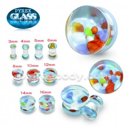 Multi Color Pebble Pyrex Glass Ear Plug