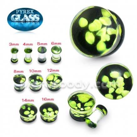 Green Pebble Pyrex Glass Ear Plug